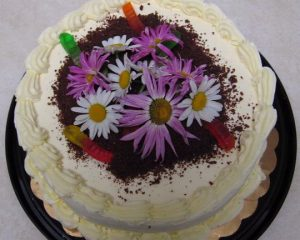 fresh flowers and cake crumbs